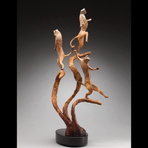 Night Moves Bronze Cat Sculpture by Laurel Peterson Gregory
