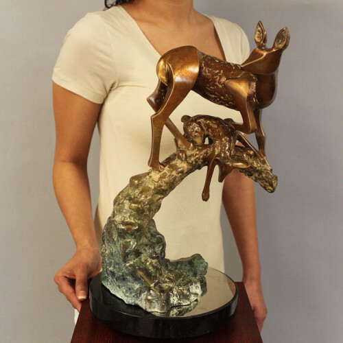 Bronze Deer Sculpture by Laurel Peterson Gregory