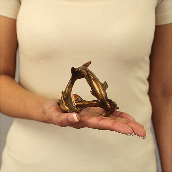 Bronze Dolphin Sculpture in hand