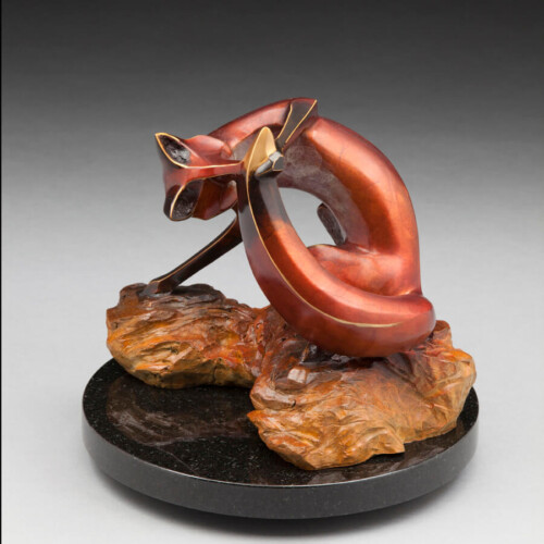 Limited Edition Bronze Fox Sculpture by Laurel Peterson Gregory