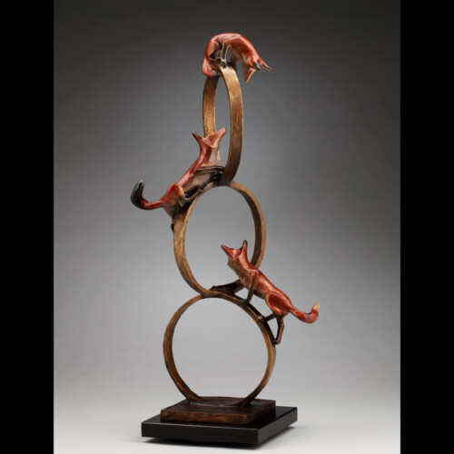 Triple Play Bronze Fox Sculpture by Laurel Peterson Gregory