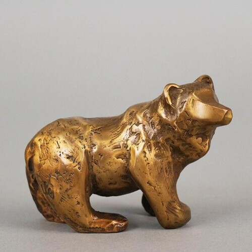 Bronze Desk Buddy Bear Sculpture by Laurel Peterson Gregory