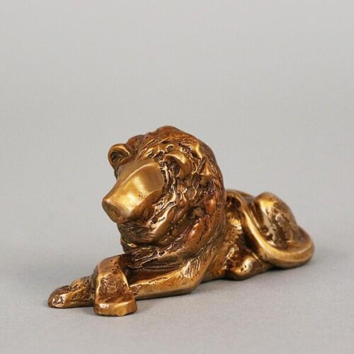 Bronze Lion Desk Buddy Sculpture by Laurel Peterson Gregory