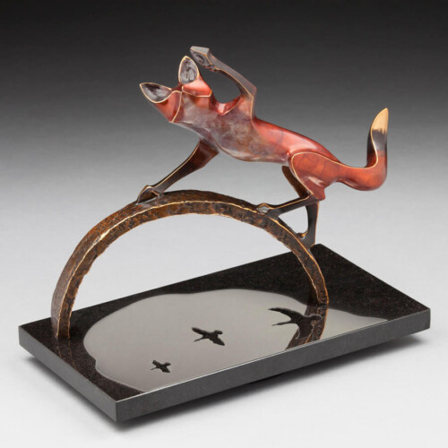 Bronze Fox Animal Statue by Laurel Peterson Gregory
