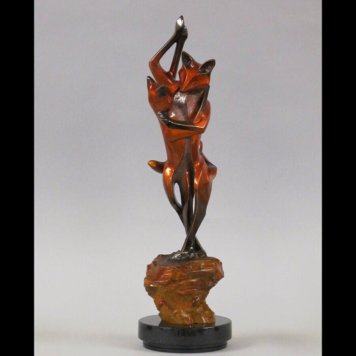 EnWrapture Bronze Fox Sculpture by Laurel Peterson Gregory