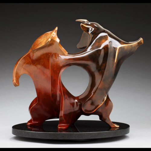 Limited Edition Bull & Bear Wall Street Bronze Sculpture by Laurel Peterson Gregory & Bear Wall Street Bronze Sculpture by Laurel Peterson Gregory