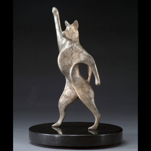 Bronze Dancing Dog Sculpture