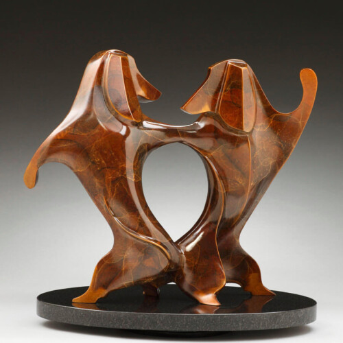 Doxie Bump Bronze Animal Dog Sculpture by Laurel Peterson Gregory
