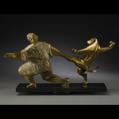 Playing Fetch Bronze Sculpture