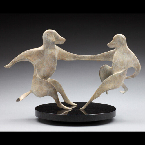Dancing Dogs Bronze Statue White