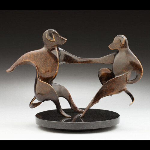 Dancing Dogs Bronze Statue