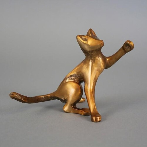 Bronze Kitten Desk Buddy Sculpture by Laurel Peterson Gregory