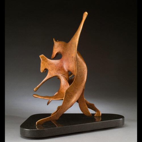 Dancing Dog Bronze Sculpture by Laurel Peterson Gregory