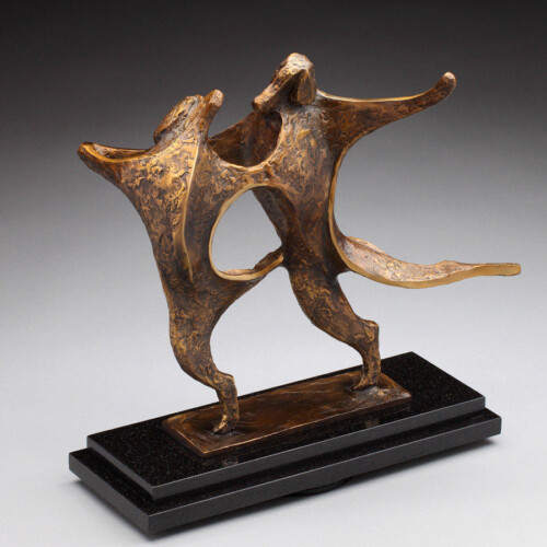 Limited Edition Bronze Dancing Dog Sculpture by Laurel Peterson Gregory