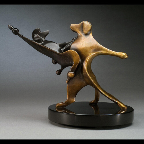 Dancing Golden Retriever & French Poodle Bronze Dog Sculpture by Laurel Peterson Gregory