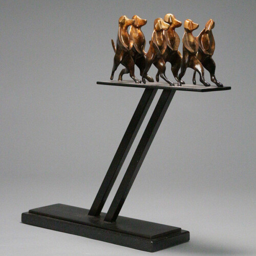 Dog Group Sculpture Bronze