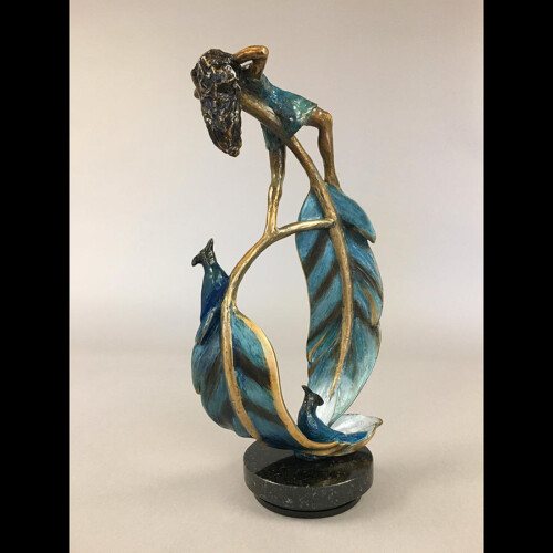 Bronze Girl Statue with Blue Feathers