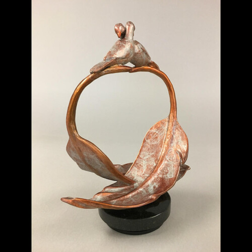 Loving Birds Bronze Sculpture with Feathers