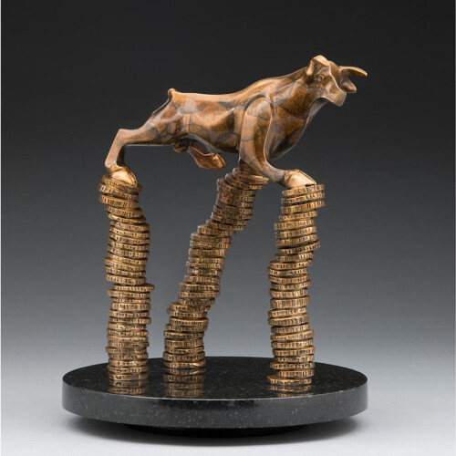 Bronze Bull Sculpture Financial Theme