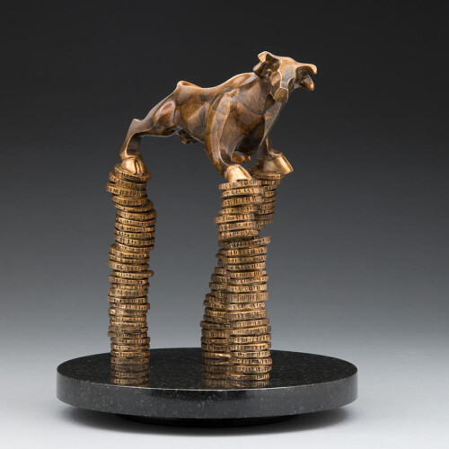 Stock Market Bronze Bull Statue Gift Size by Laurel Peterson Gregory